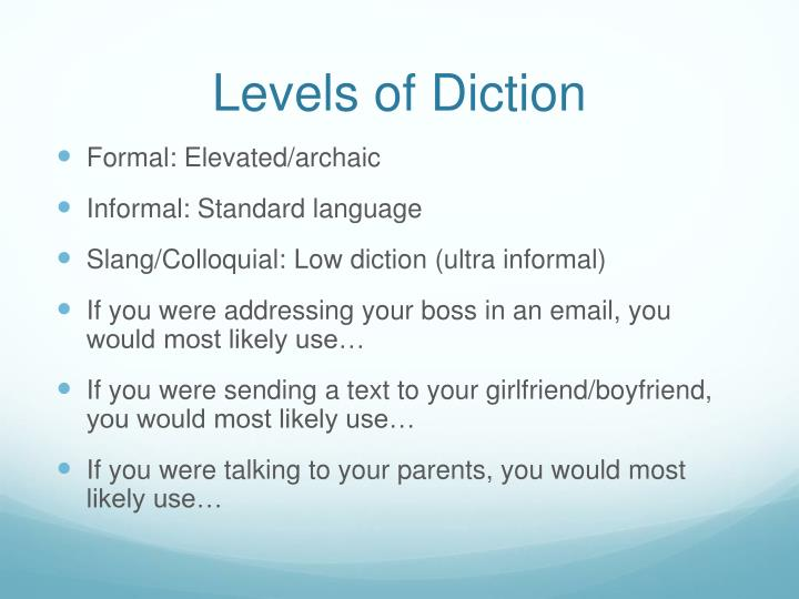 Levels of diction
