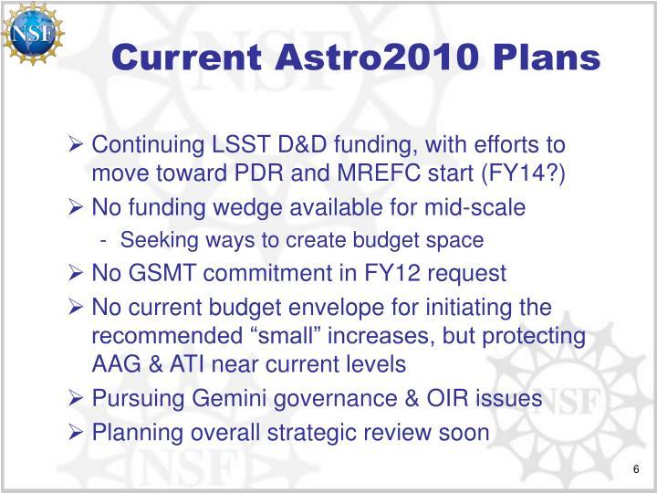 Current Astro2010 Plans