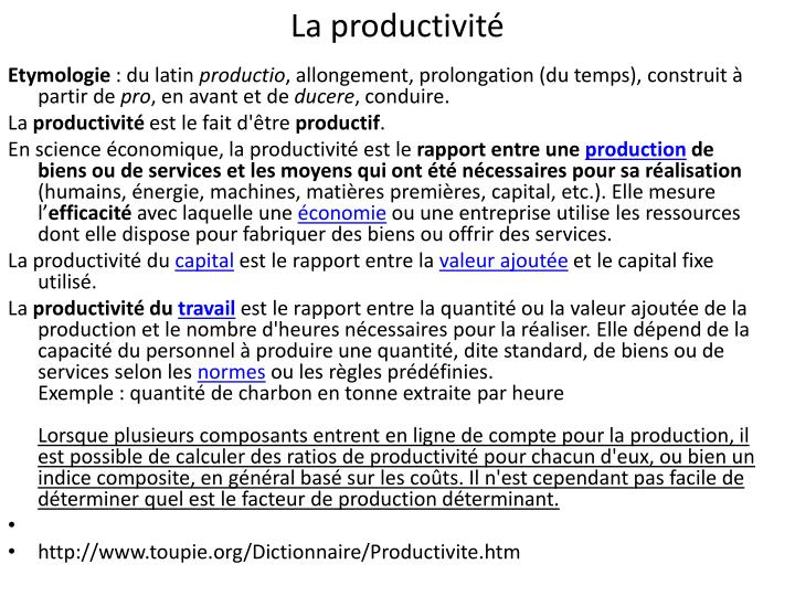 La productivité