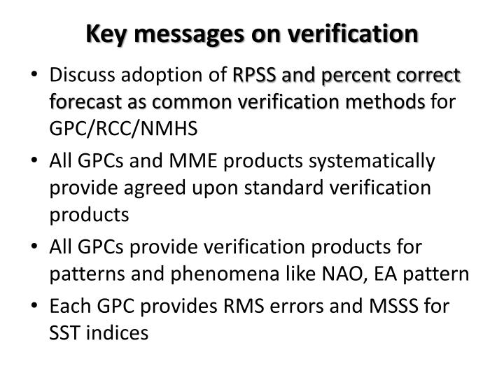 Key messages on verification