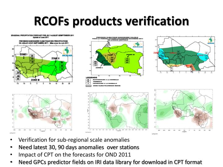 RCOFs products verification