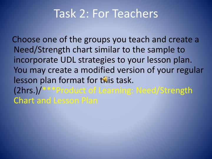 Task 2: For Teachers