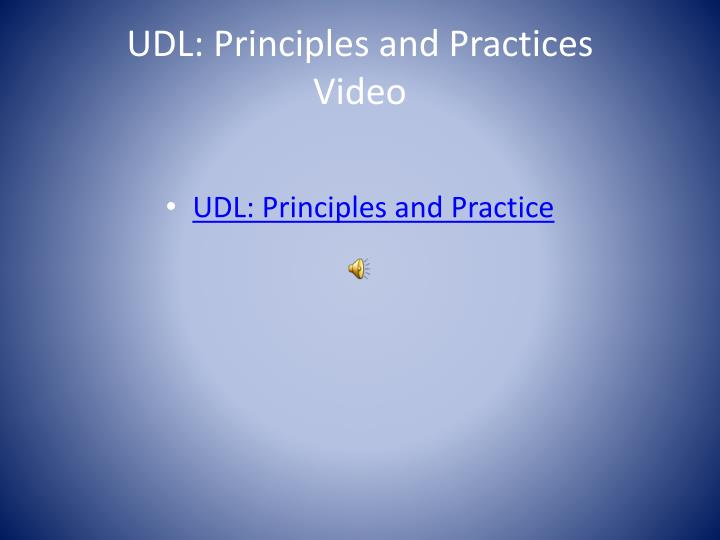 UDL: Principles and