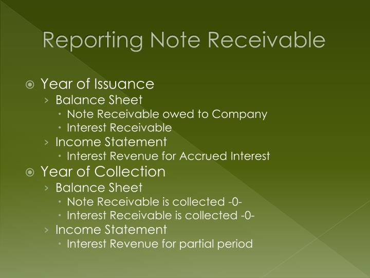 Reporting Note Receivable