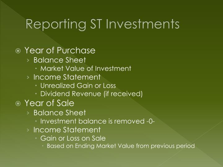 Reporting st investments