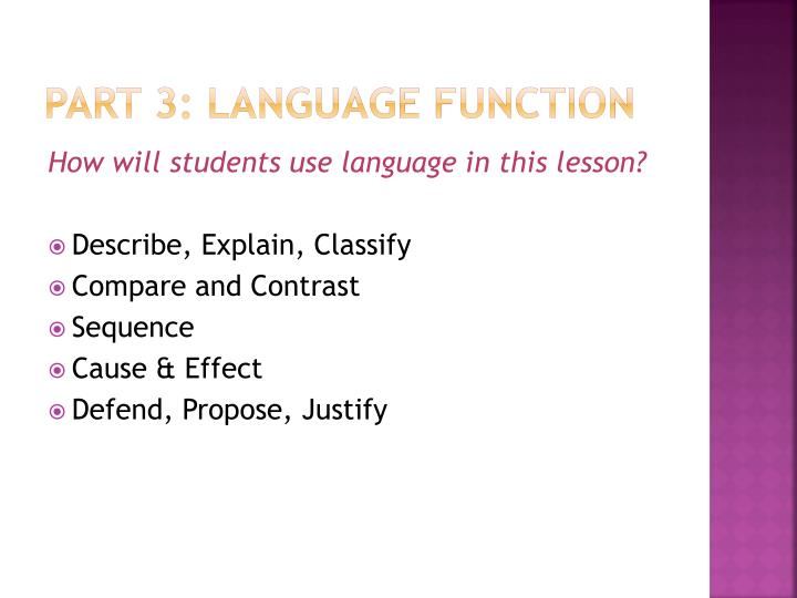 Part 3: Language Function