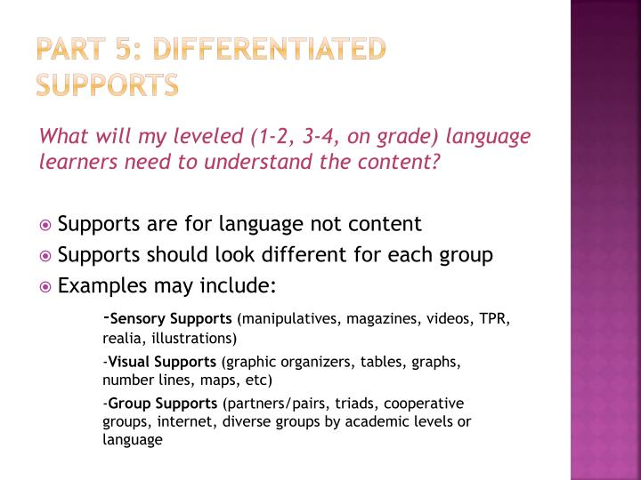 Part 5: differentiated supports