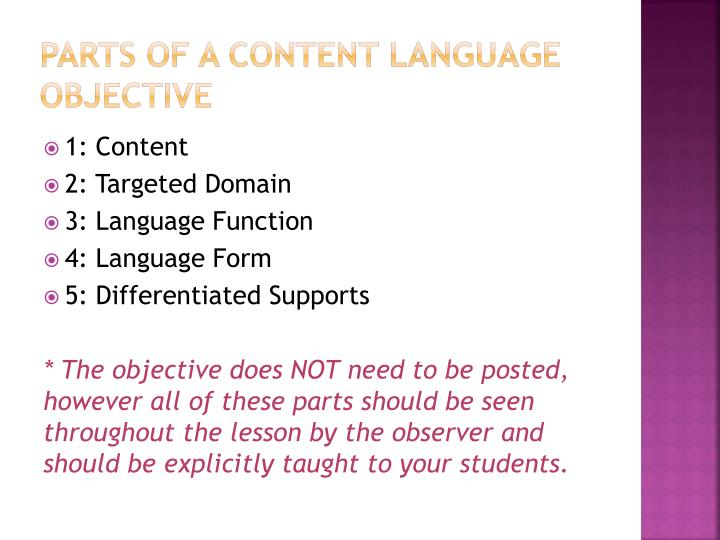 Parts of a content language objective