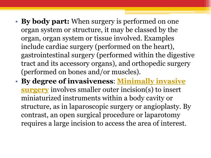 By body part: