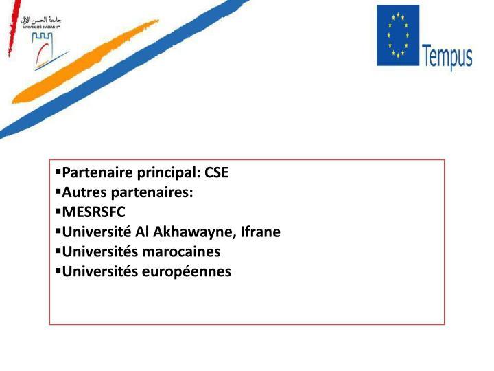 Partenaire principal: CSE