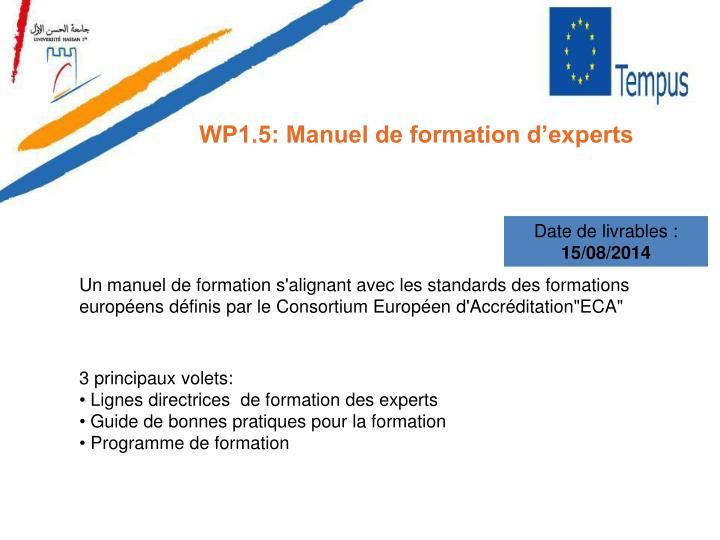 WP1.5: Manuel de formation d'experts