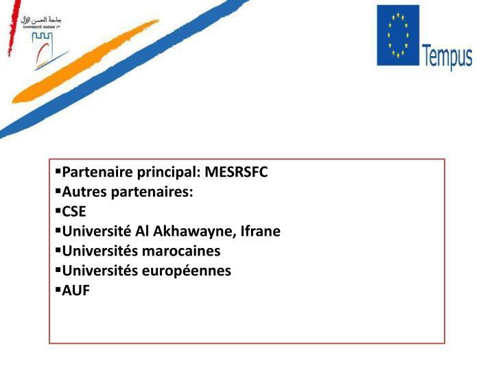 Partenaire principal: MESRSFC