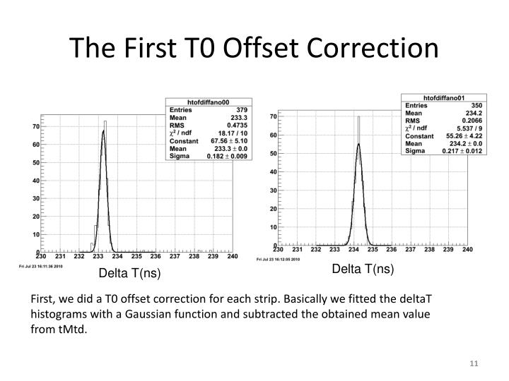 The First T0 Offset Correction