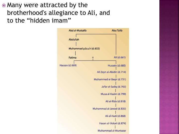 "Many were attracted by the brotherhood's allegiance to Ali, and to the ""hidden imam"""