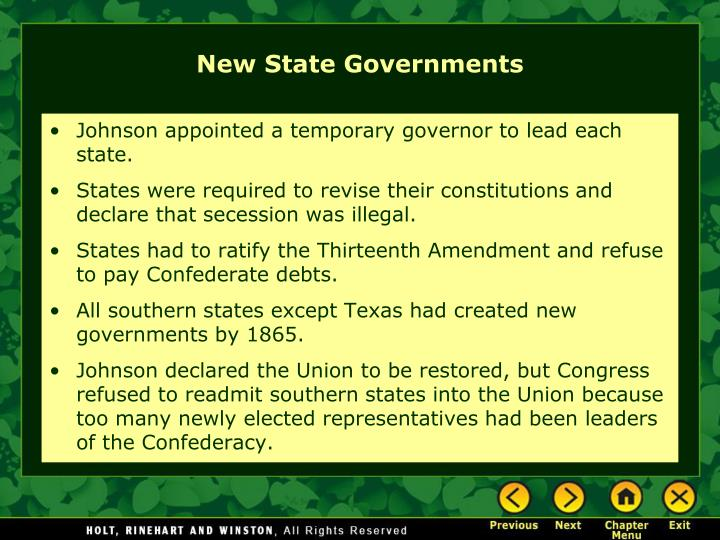 Johnson appointed a temporary governor to lead each state.