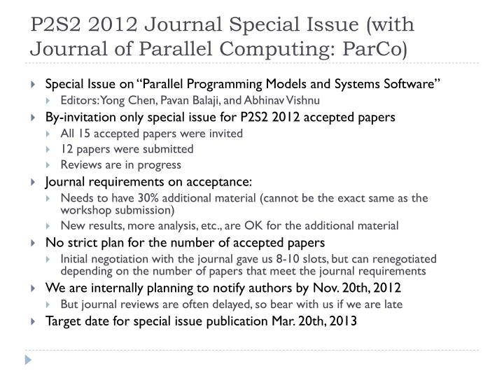 P2S2 2012 Journal Special Issue (with Journal of Parallel Computing: