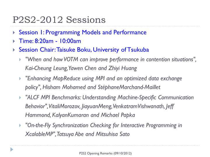 P2S2-2012 Sessions