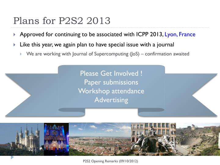 Plans for P2S2 2013