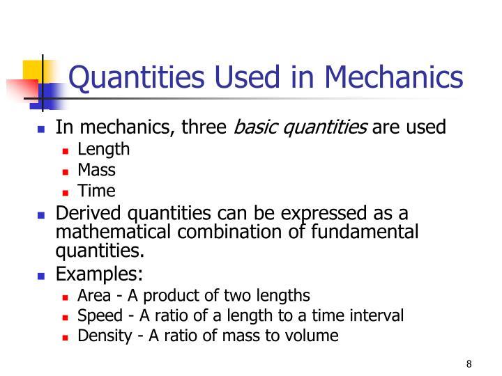 Quantities Used in Mechanics