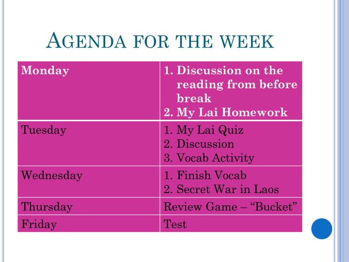 Agenda for the week
