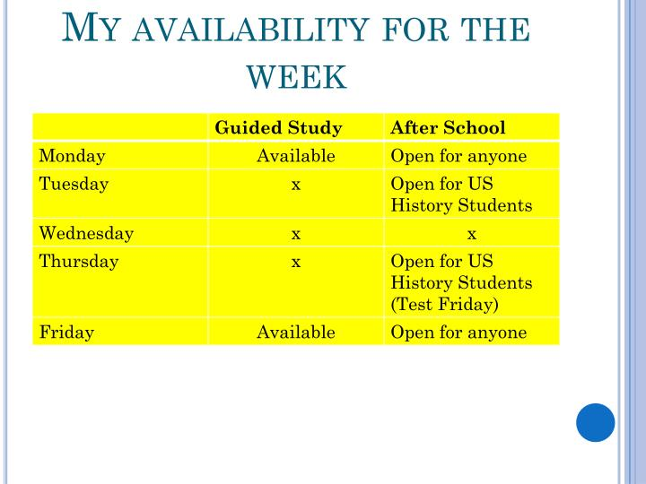My availability for the week