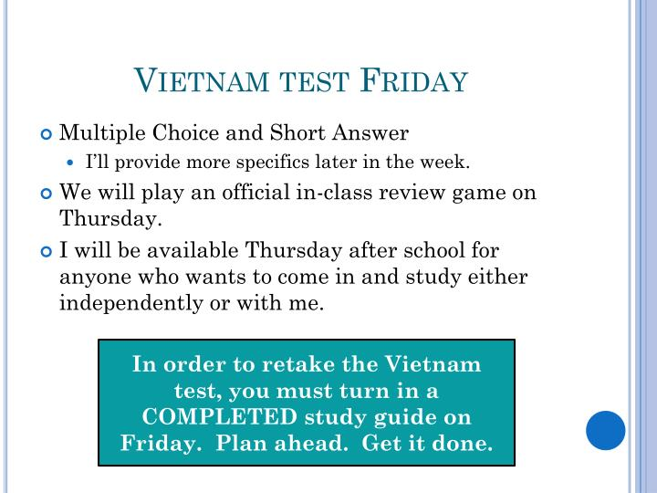 Vietnam test Friday