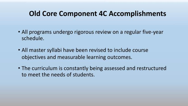 Old Core Component 4C Accomplishments
