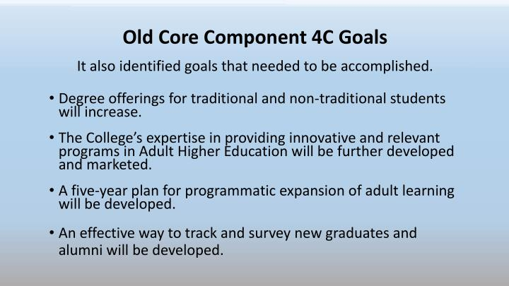 Old Core Component 4C Goals