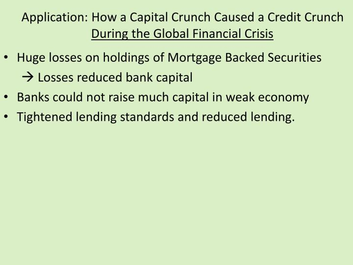 Application: How a Capital Crunch Caused a Credit Crunch