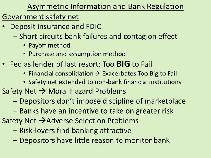 Asymmetric Information and Bank Regulation