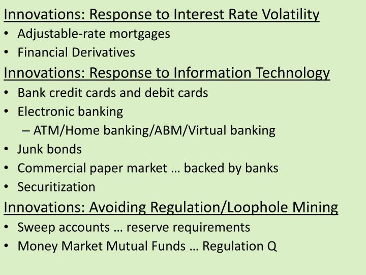 Innovations: Response to Interest Rate Volatility