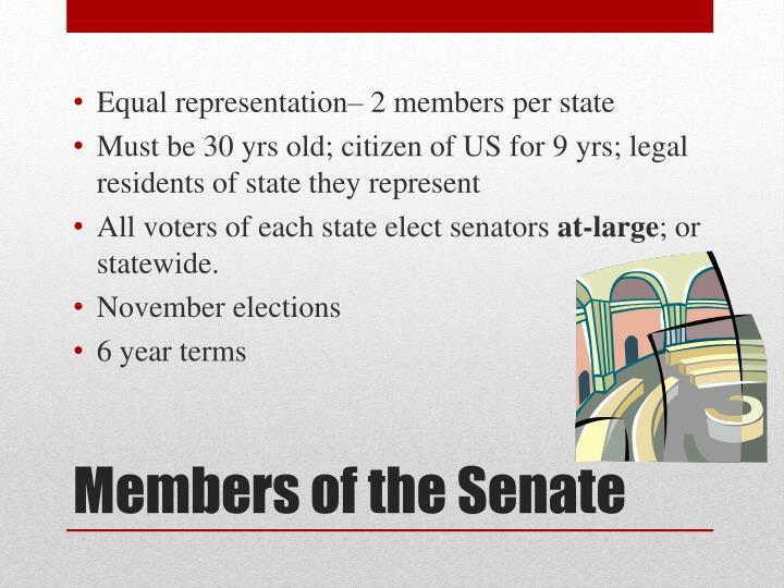 Equal representation– 2 members per state