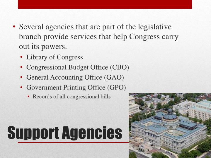 Several agencies that are part of the legislative branch provide services that help Congress carry out its powers.
