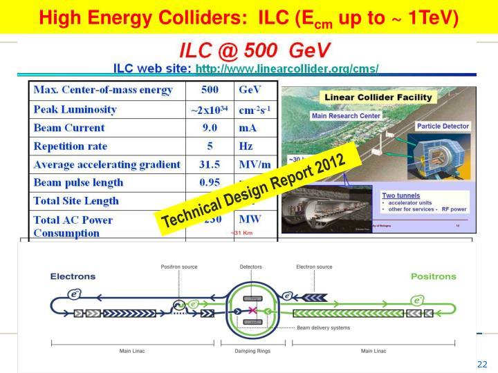High Energy Colliders:  ILC (E