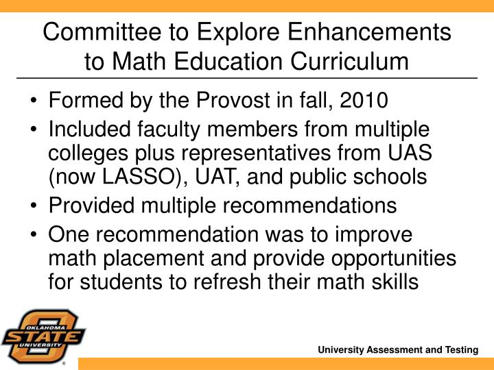Committee to Explore Enhancements to Math Education Curriculum