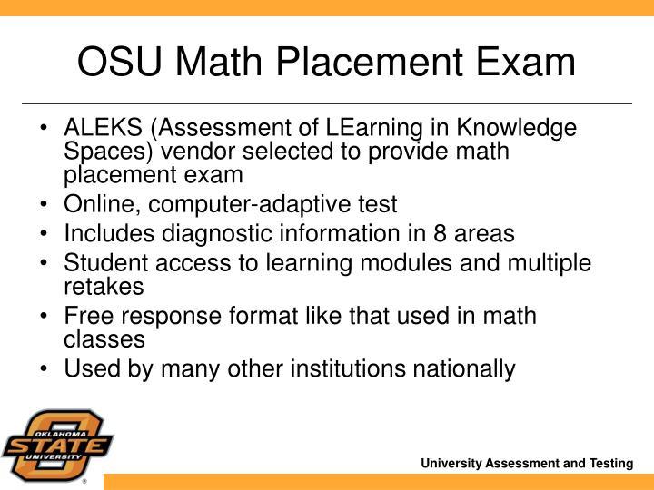OSU Math Placement Exam