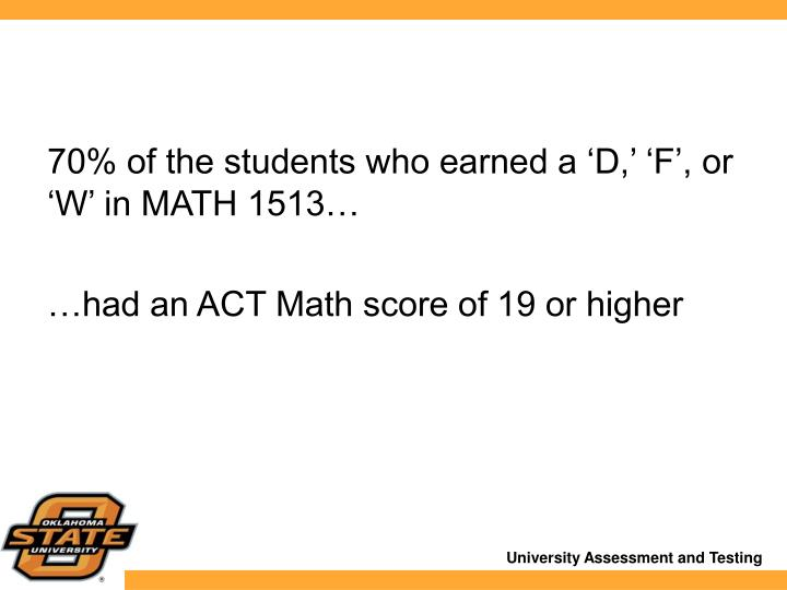 70% of the students who earned a 'D,' 'F', or 'W' in MATH 1513…