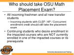 who should take osu math placement exam