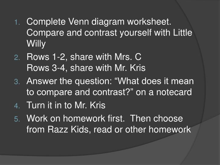 Complete Venn diagram worksheet.
