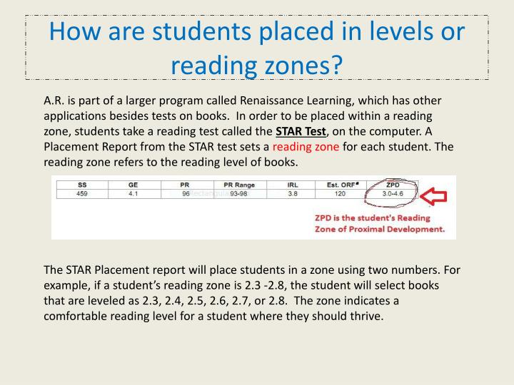 How are students placed in levels or reading zones?