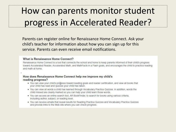 How can parents monitor student progress in Accelerated Reader?