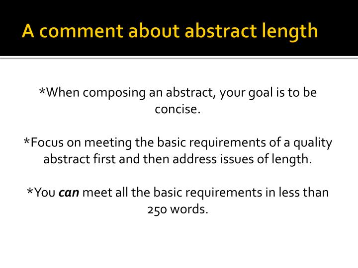 A comment about abstract length