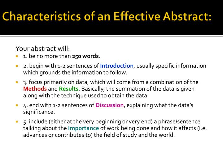 Characteristics of an Effective Abstract: