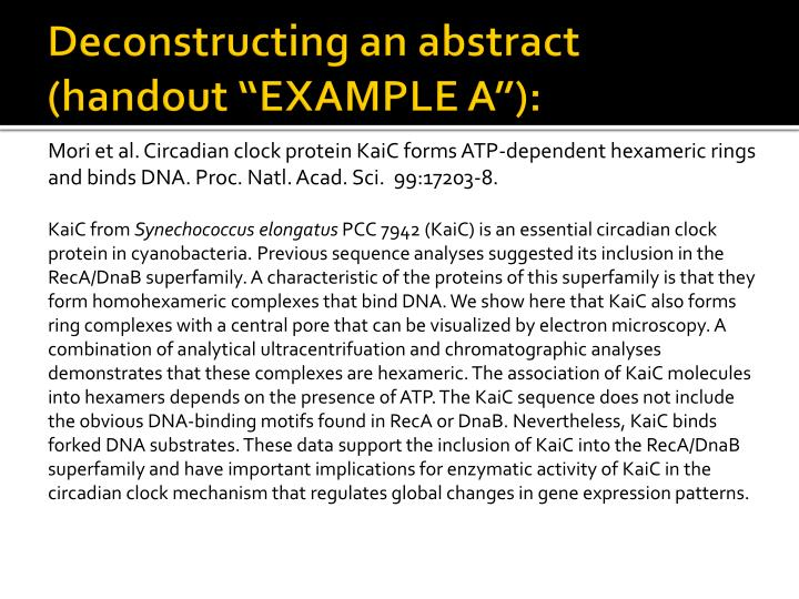 "Deconstructing an abstract (handout ""EXAMPLE A""):"