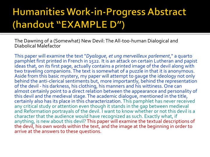 "Humanities Work-in-Progress Abstract (handout ""EXAMPLE D"")"