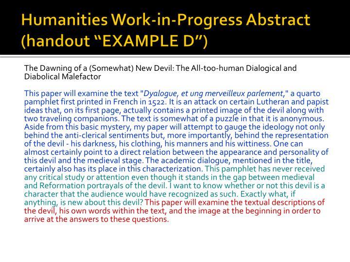 """Humanities Work-in-Progress Abstract (handout """"EXAMPLE D"""")"""