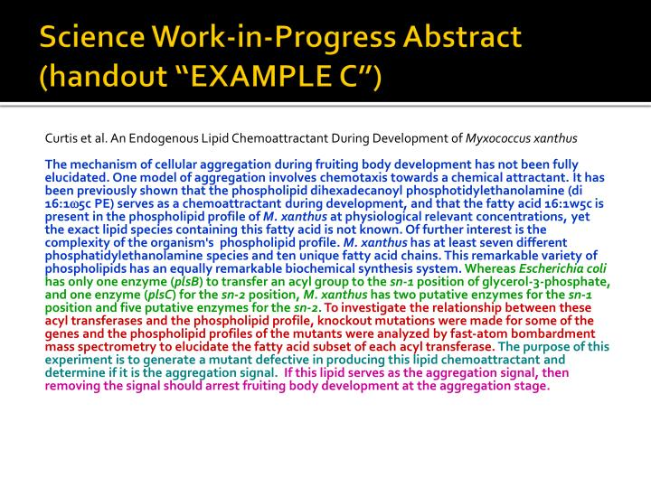"Science Work-in-Progress Abstract (handout ""EXAMPLE C"")"