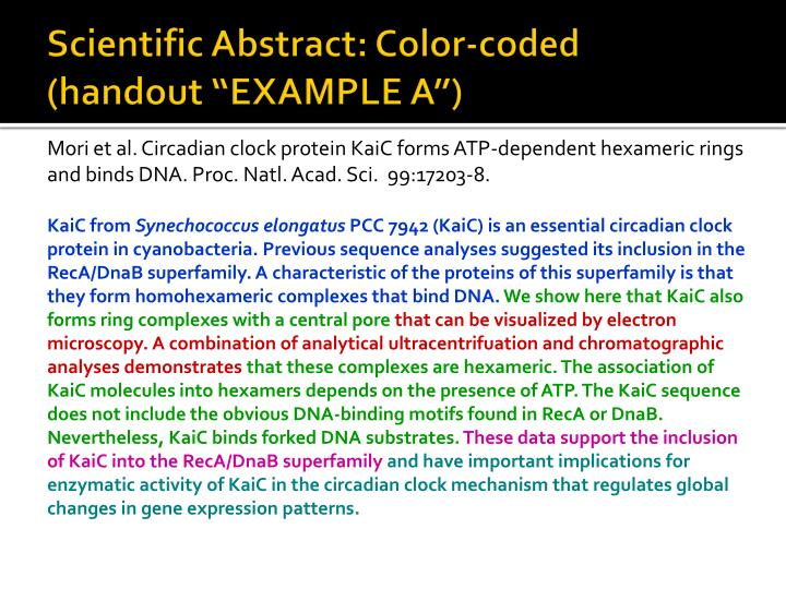 "Scientific Abstract: Color-coded (handout ""EXAMPLE A"")"