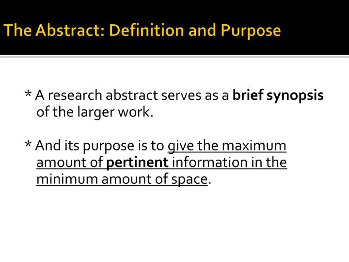 The abstract definition and purpose