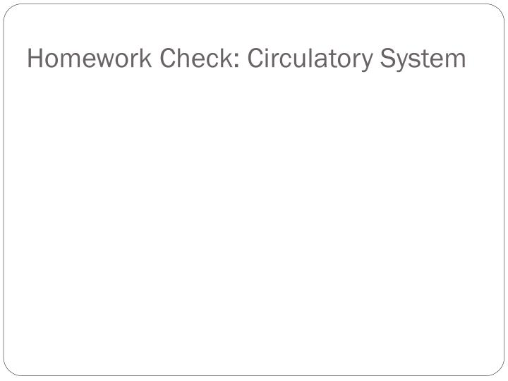 Homework check circulatory system